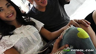Sexy Asian babe is taken to a hotel room for steamy fuck