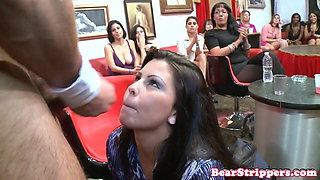 Bigbooty CFNM party MILF facialized on camera