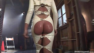 Blondes in latex outfit getting their anals bonked in a fetish group sex