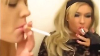 Dirty lesbian smoking sluts toying pussy and sucking big cock