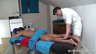 Oil body massage with hot gays