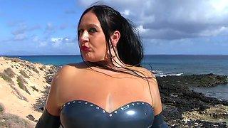 Mystic Latex Lady - Public Blowjob Handjob on the Beach - Cum on my Latex Shirt Gloves