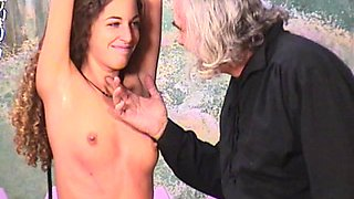 That perverted curly brunette being fucked by an old fart