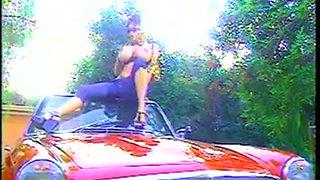 Hottie with an amazing rack masturbating inside a car