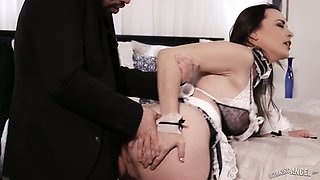 Perverted maid in sexy uniform Dana DeArmond seduces majordomo