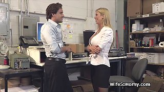 milf boss visits the new hard cock in warehouse