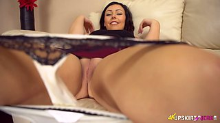 Delicious upskirt pussy of Kacie James is everything you need right now