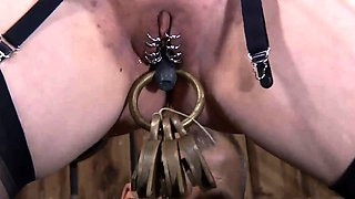 Fastened up chick is punished by master for her nasty sins