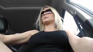 Blonde Cam Girl Masturbates in a Car