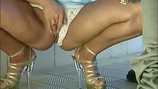 elegant blonde Meike is ready to jump on friend's hard and sticky dick