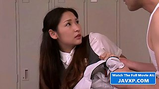 Dad brings asian stepdaughter to the office, japanese jav
