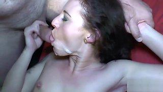 Extreme cum battle,with 2 GangBang Sluts