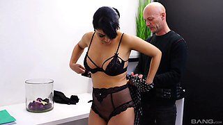 Mature black haired MILF secretary Cathy Crown gets cum on her tits