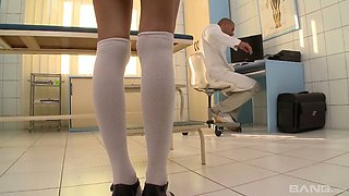 Petite patient Gina Gerson is fucked by horny well endowed doctor