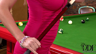 Hot blond carol goldnerova masturbates on the pool table