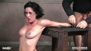Olive Glass gets tied up and abused by Syren De Mer with a strap on