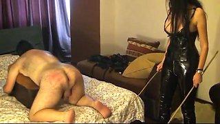 Naught teacher Mistress Antonella whips slave