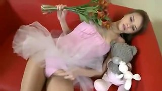 Daughter in Ballerina Outfit Jerks Off Her Big Cock & Givers Herself Facial