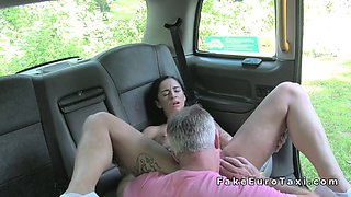 Big boobs tattooed babe fucked in fake cab and outdoor