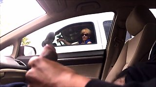 Kinky amateur lady watches a guy jerking off in the car