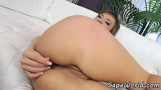 Buttfucked amateur shows off her gaping ass