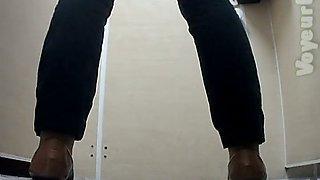 White pale skin booty of a stranger girl filmed in the toilet