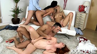 Immodest and foursome with participation of euro whores