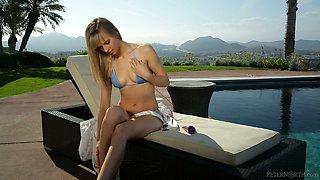 Passionate bedroom sex with stunning blonde Jillian Janson