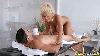 Busty Bridgette B finally agrees to bounce on his hard shaft