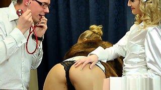 Clothed nurse spits jizz