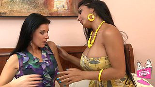 India Summer licks the Latina pussy of busty Nina Mercedez