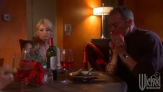 Horny housewife Stormy Daniels fucks her husband in a neighbour's kitchen