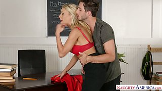 Sex-appeal teacher in stockings Katie Morgan gets her pussy licked and fucked