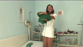 A cute young lady tricked to fuck hard by an old doctor and his young wild nurse assistant