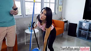 Latina Monica gets fucked by her boss with a gigantic cock