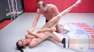 Sofie Marie naked wrestling turns rough for a hard fucking