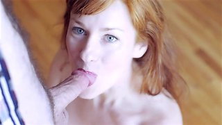 Horny redhead swallows every drop