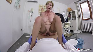 Big natural breast horny granny gets wild pov fucked by her horny doctor