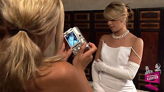 Lena Nicole seduces a gorgeous bride to be in a wedding dress