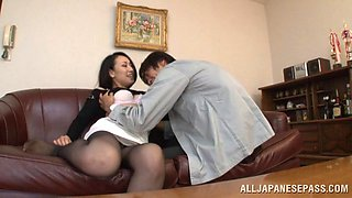 Captivating Asian pornstar in nylon pantyhose screaming in ecstasy as her hairy pussy gets banged hardcore