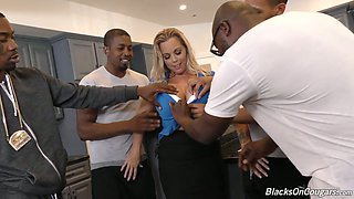 Mouth watering milf Amber Lynn Bach is fucked by several black dudes