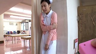 Three patients pleasure a delicious Japanese nurse