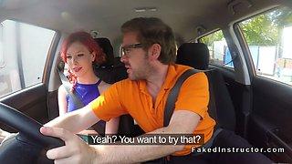 Redhead amateur driving student banging