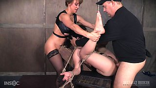 Mature couple abuses their sex slave real hard with toys