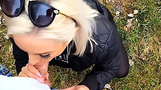 German blonde with beautiful clit gets fucked outdoors
