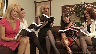 Skilled lesbian Nina Hartley arranges dirty orgy at home