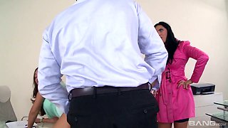 Attractive Russian whore Kira Queen is eager for dirty threesome sex in the office