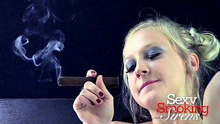 Smoking Fetish - Callie Black Lingerie Cigar