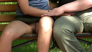 Upskirt and seduction in park