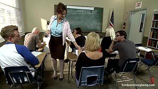 Kinky MILF teacher gets gangbanged by her students